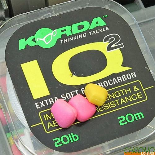 Toutes tailles * Lot de 2-Meilleur Prix 2 X Korda IQ /& IQ2 Fluorocarbone 20 m Hooklink